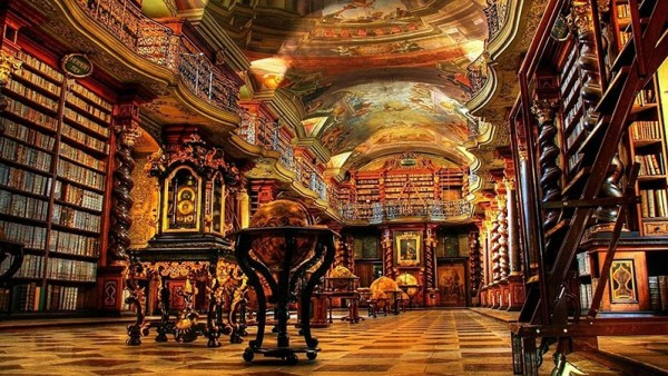 Library in a castle